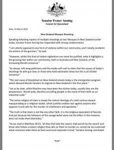 senator fraser anning statement